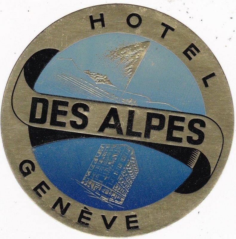 Switzerland Geneve Hotel Des Alpes Vintage Luggage Label sk4272