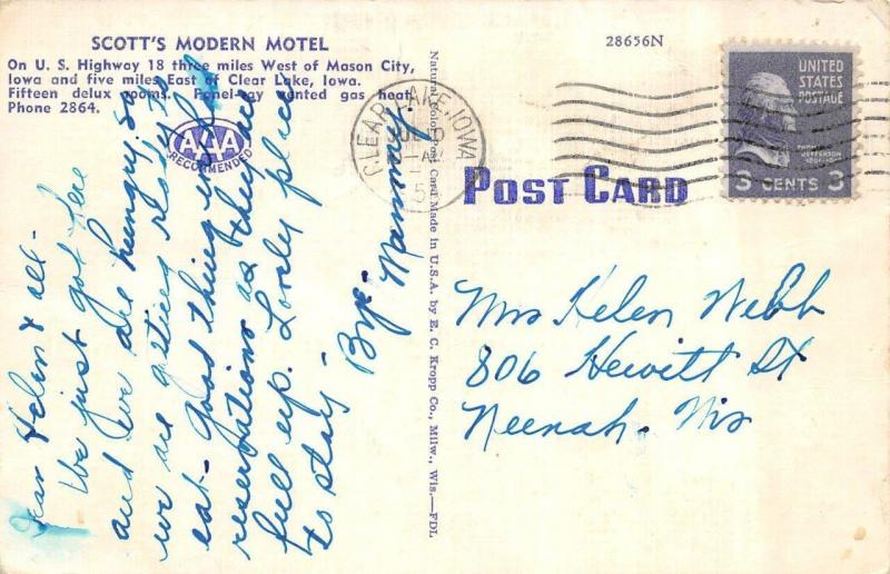 MASON CITY,  IA  Iowa  SCOTT'S MODERN MOTEL  Playground  Roadside  1954 Postcard