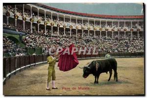 Old Postcard Bullfight Bullfight Pase muleta