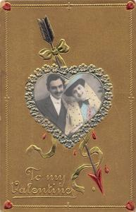 VALENTINE'S DAY Love Holiday RPPC Real Photo COUPLE HEART Postcard Germany 364