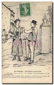 Old Postcard old Au Village can pass Illustrator