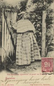 suriname, Native Mestizo Woman in Typical Dress Costumes (1903) Stamp