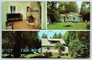Sister Bay Wisconsin~Bay Shore Cottage Resort~Cabins~Lodge~Lobby Fireplace~1968