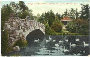 Bridge, Bandstand & Swans, Beacon Hill Park, Victoria British Columbia BC 1914