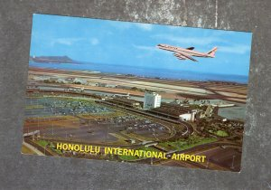 Honolulu International Airport, Postcard, Airplane, Jet, Hawaii, Vtg, Aviation