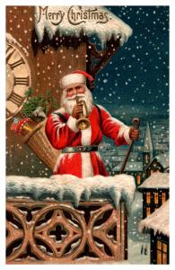 Santa Claus Red Suit , Playing Horn top of clock tower