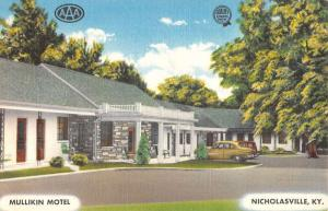 Nicholasville Kentucky Mullikin Motel Linen Antique Postcard K27732