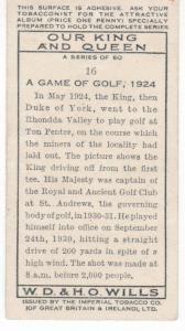 Cigarette Card Wills Our King and Queen No 16 A Game of Golf