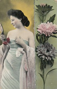 Woman with mirror & Flowers , 1908