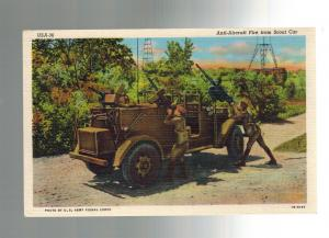 Mint WW 2 US Army RPPC Postcard Scout Car Anti Aircraft Gun Photo Signal Corps
