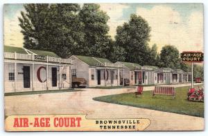 Postcard TN Brownsville Air Age Court Vintage Linen Motel Cabins H05
