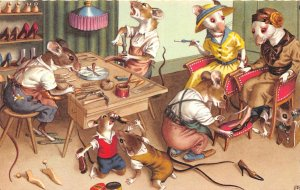 F72/ Dressed Mice Rat Alfred Mainzer Animal Postcard Shoe Cobbler 4
