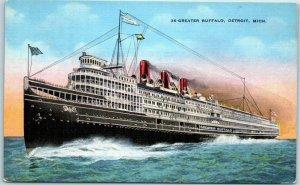 D&C Navigation Co. Steamship Postcard STEAMER GREATER BUFFALO Kropp Linen 1938