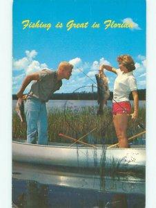 Pre-1980 FLORIDA WOMAN GOES FISHING Postmarked Tarpon Springs by Tampa FL AF5647