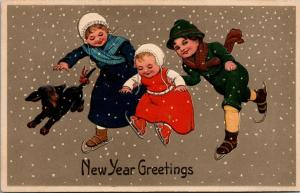 PFB New Year~Brother & Sister Lift Baby Up~Ice Skates~Dachshund Dog~Emboss~#8078
