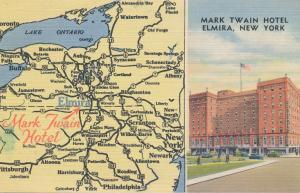 Elmira NY, New York - Mark Twain Hotel and Area Map - Linen