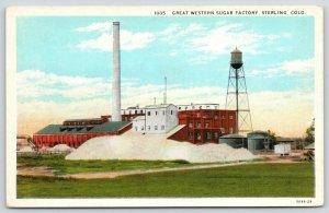 Sterling Colorado~Great Western Sugar Factory~Water Tower~Smokestack~1929 PC