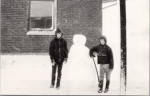 Young Boys Snowman Winter Snow Youth Denmark Stamps Blurry RPPC Postcard E26