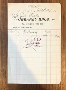Brooklyn, NY  -  GREANEY BROS - WILLIAMSBURGH -  Invoice - 1905