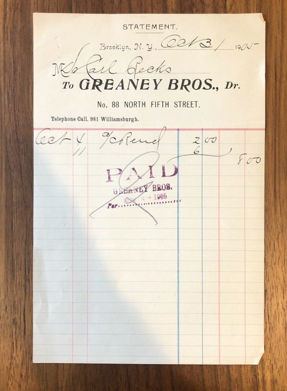 Brooklyn, NY  -  GREANEY BROS - WILLIAMSBURGH -  Invoice - 1905