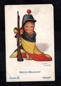 1933 Mint Bravo Belgium Baby in Flag w Rifle Patriotic Postcard Army