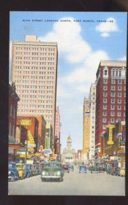 FORT WORTH TEXAS DOWNTOWN STREET SCENE VINTAGE POSTCARD OLD CARS