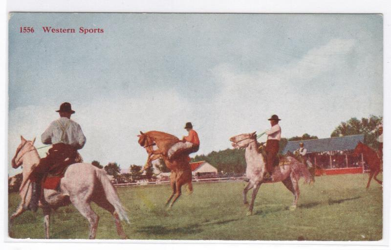 Bucking Bronco Cowboy Western Rodeo Western Sports 1910c postcard