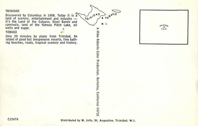 Trinidad and Tobago Map Card Chrome