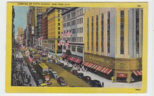 P2090, 1949 postcard f.w. woolworth store flags traffic 5th ave new york city
