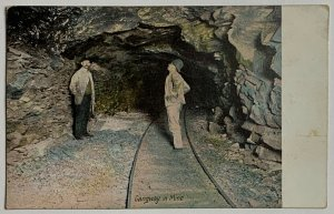 Old Undivided Postcard Coal Mining Gangway in Mine at Foot of Shaft Used 1910
