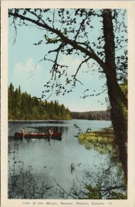 Kenora Ontario Lake of The Woods Canoe Canoeing c1943 PECO Postcard G36
