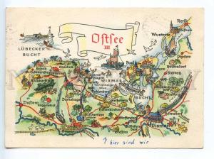 241520 GERMANY GDR OSTSEE MAP Old postcard