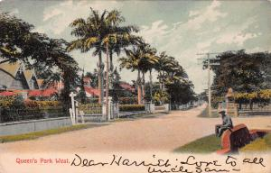 Queen's Park west, Trinidad, Early Postcard, Used in 1911