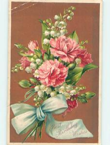 Divided-Back birthday CARNATIONS & LILY OF THE VALLEY FLOWERS o9428