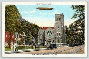 Hot Springs Arkansas~Blimp Over Presbyterian Church~Worshippers Leave~1920s Cars