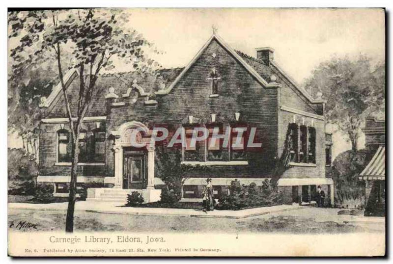 Postcard Old Carnegie Library Eldora Iowa Library