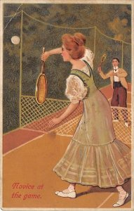 Tennis Post Card Novice at the Game Woman and Man Playing Tennis Writing on Back