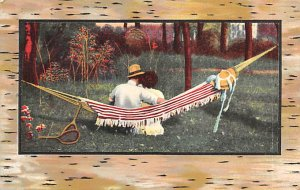 Tennis Post Card A Silent Confession Man and Woman in Hammock 1912