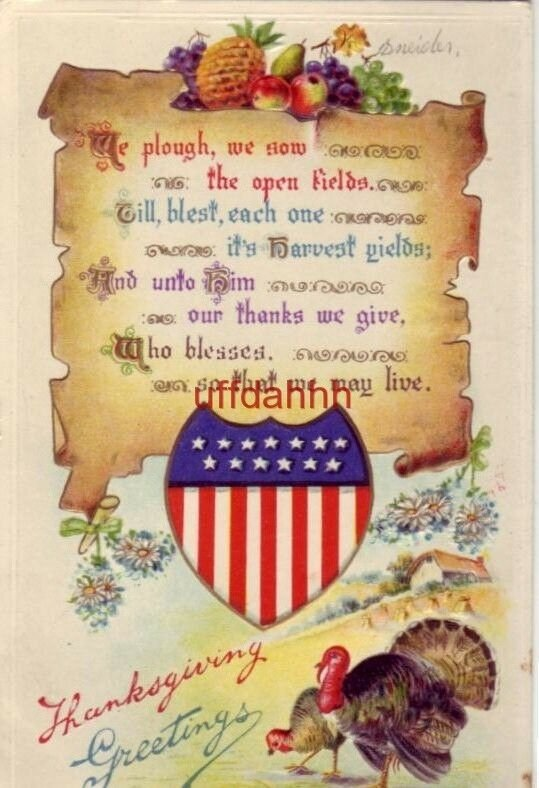THANKSGIVING GREETINGS We plough, we sow the open fields... embossed 1912