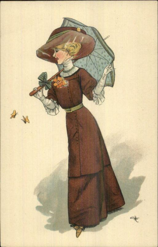 Beautiful Woman Parasol White Gloves Butterfly A. Sch & Co B c1910 Postcard CH