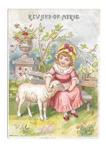 Antique Victorian Reward of Merit Card Girl Lamb 1889 Ada Shaffer Gibson Litho