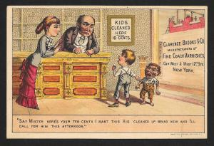 VICTORIAN TRADE CARD Clarence Brooks Varnishes Kids Cleaned for 10 cents