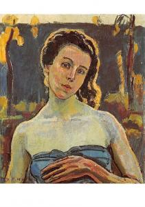 Ferdinand Hodler, Portrait of Gertrud Muller in the Garden Postcard