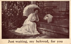 Vintage Postcard 1910's Just Waiting My Beloved, For You  Woman Waiting on Porch