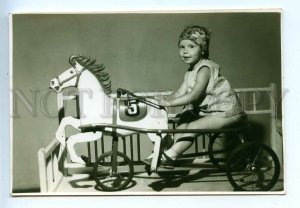 3069137 Girl on Running HORSE Toy Old REAL PHOTO