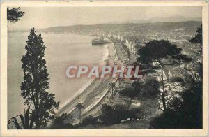 Old Postcard Nice's Promenade des Anglais view of Chateau