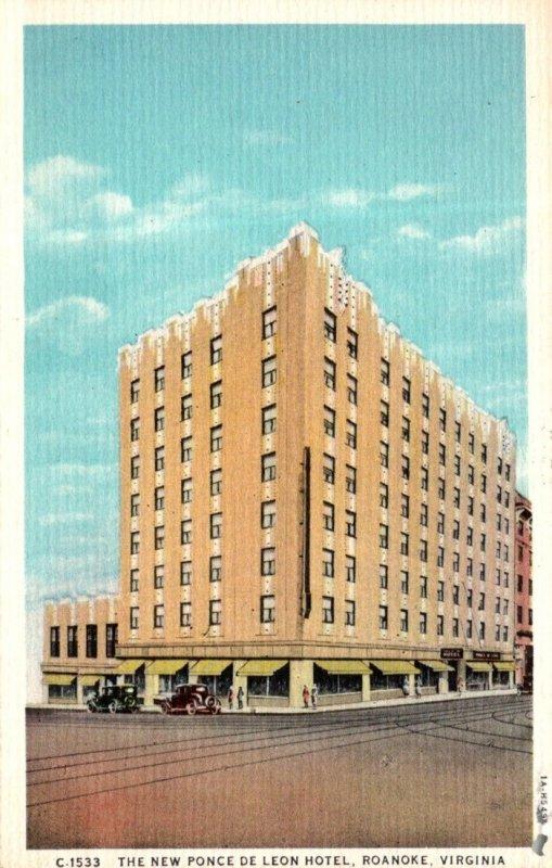 Virginia Roanoke New Ponce De Leon Hotel Curteich