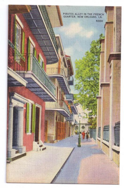 New Orleans LA Pirates Alley French Quarter Linen Postcard