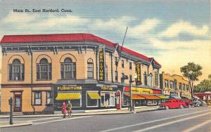 East Hartford CT Main Street Business District Linen Postcard