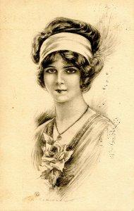Pretty Lady with Wide Headband.   Artist: Toniolo